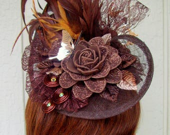 Fascinator (F712) Races and Kentucky Derby and Wedding Mini Hat, Brown Colors, Handmade Rosettes and Butterfly, Swarovski Crystals