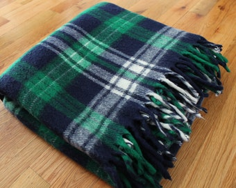 Vintage 1970's Faribo Blue + Green Plaid Fringe Stadium Blanket