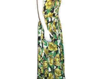 50s Maxi Dress Long Floral Dress Green Gold Maxi Ruffled Hem Sleeveless Maxi 1950s Prom Dress 50s Party Dress Long Flowered Dress