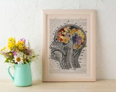 Spring Sale Print Flowery Brain collage Printed on Dictionary Book page. Wall decor art, Anatomy decor, Flower print art BPSK053