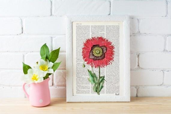 Vintage Book Print Dictionary or Encyclopedia Page Print Book print Poppy Flower Botanical studio print on Book BFL075