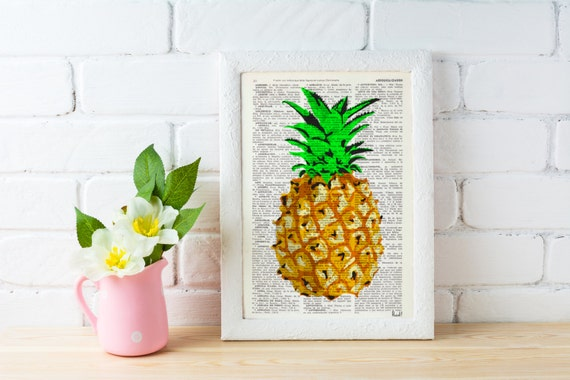 Spring Sale Pineapple Wall decor, giclee print art Hipster Pineapple original artwork Printed on Vintage Dictionary page BPBB096