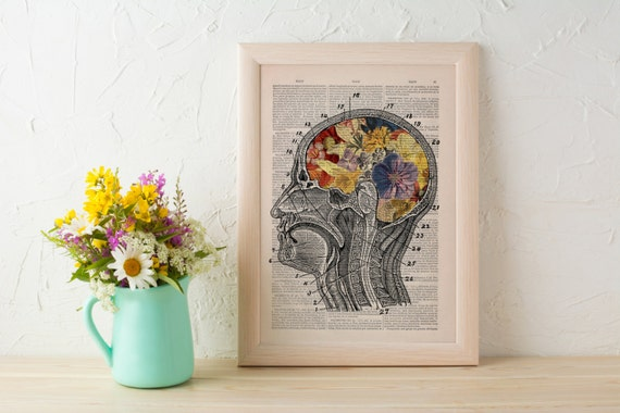 Summer Sale Print Flowery Brain collage Printed on Dictionary Book page. Wall decor art, Anatomy decor, Flower print art SKA053