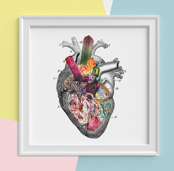 Spring Sale Heart with minerals Print, wall art Human anatomy print Science student gift Human heart art print, Anatomy  SQK116