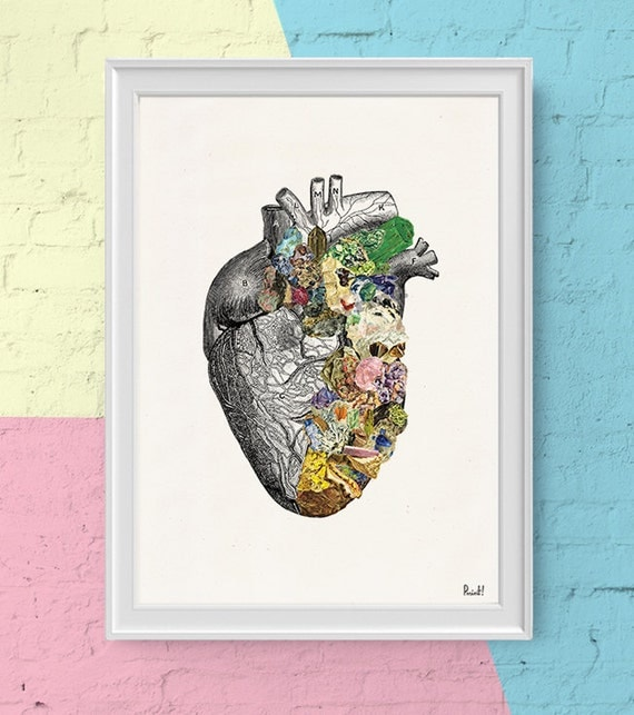 Human Heart with minerals- Print wall art- Doctors gift- Human anatomy print. Science student gift- Anatomy art prints SKA128WA4