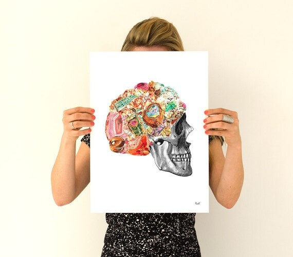 Human Skull with precious stones Skull wall art print Anatomical art prints wall art gifts for doctor Skull wall art SKA119WA3