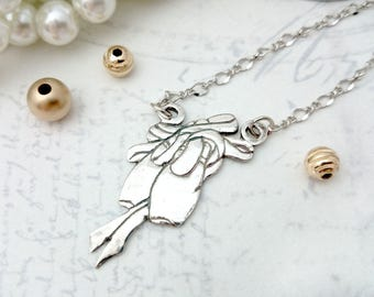 Ballet Shoes Necklace - PMC Necklace, PMC Jewlery, PMC Pendant, Ballerina Shoes Pendant Necklace, Ballerina Necklace