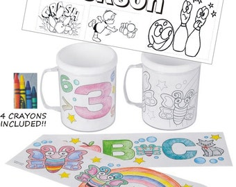 Personalized Coloring Mug SALE with 4 Coloring Pages (1 completely customized) and 4 Crayons - COLOR me mug - party favor - bowling favor