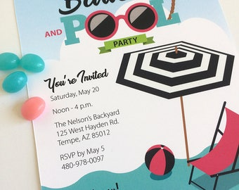 Graduation, Barbecue, BBQ, Pool, Birthday, Party, Invitation