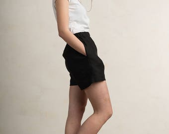 Black linen shorts for women by LHI, Black linen women's clothing