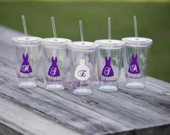 Bride and Bridesmaids Tumblers, 9 wedding party acrylic glasses with lid and straw, flower girl juice cups. wedding party gift idea BPA Free