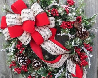 Christmas Wreath Music Wreath Holly Snow Wreath Red Berry Christmas Holiday Wreath, Christmas Carol Wreath, Natural Christmas Decor