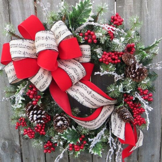 Christmas Wreath Music Wreath Holly Snow Wreath Red Berry Christmas Holiday Wreath, Christmas Carol Wreath, Natural Christmas Decor