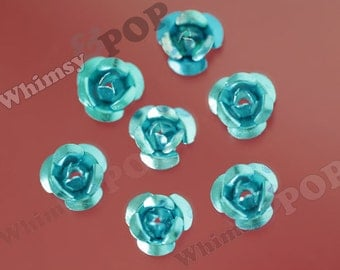 Electric Blue Aluminum Rose Cabochons or Bead, Flower Cabochons, Aluminum Metal Flowers, 6mm Flower Cabochons, Spacer Beads (R9-140)