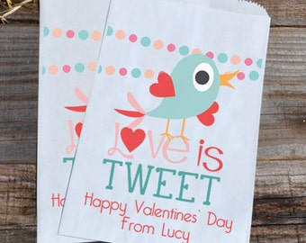 Valentines Day Bird Love is Tweet Personalized Goodie Cookie Paper Bags for Valentine's Day Boys Party Favors, or Giveaways