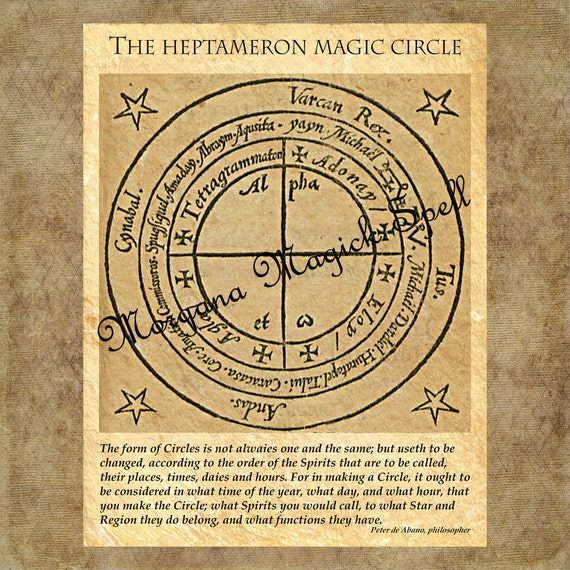 HEPTAMERON MAGICK CIRCLE, Instant Download, Occult Symbol,Alchemy, Mythological,Clip Art, Digital Download, Occult Book of Shadows Page