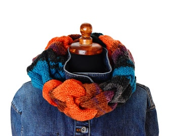 Multicolor cable knit infinity scarf, single wrap infinity scarf, knit neckwarmer scarf, chunky knit scarf, warm cable knit scarf, orange