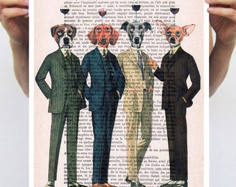 Dogs with wineglasses, wineclub, dog poster, dog painting, dog drinking wine, funny dogs, poster 11x16 by Coco de Paris