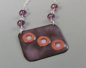 Burgundy Enameled Copper Necklace,  Enameled Necklace, Enameled Jewelry, Copper Jewelry, Purple Necklace