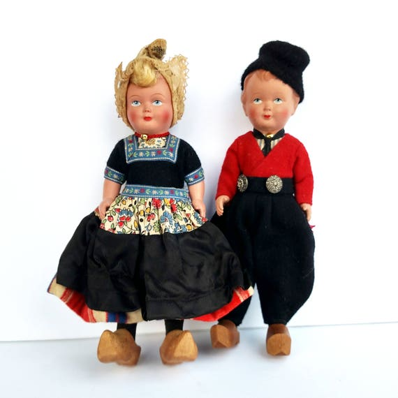 Vintage 1950's Pair of Dutch Dolls from Rotterdam - Excellent Condition