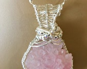 Very Rare and Unusual Rose Quartz Crystal Cluster Wrapped With Woven Sterling Wire - Handmade in the USA