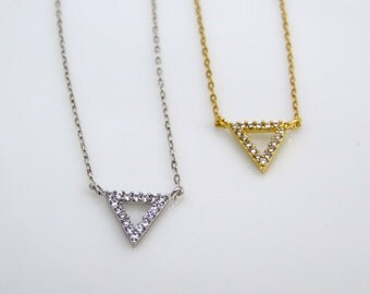 Dainty CZ open triangle necklace, cubic zirconia triangle, upside down triangle necklace, layering necklace, gold triangle, silver triangle
