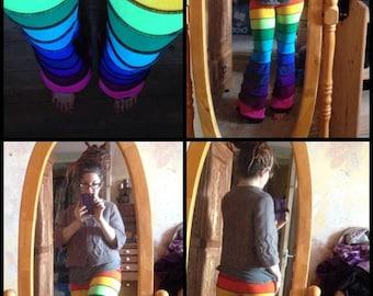 Deluxe rainbow Horizontal striped fleece flares.