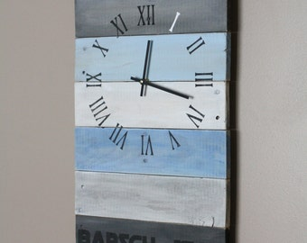 RECTANGULAR reclamied Wall Clock. Modern Coastal. Hip Farmhouse. Pallet wood clock. color washed Customizable.  Gift.  Wedding.  Anniversary