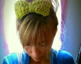 Crochet Big Bow Head Band Clip Pattern