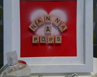 Nanna and Pops, Granny and Grandad, Nanny and Grandad, Grandmother and Grandfather, Scrabble Wall Art, Gift, Anniversary, Christmas present