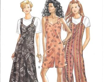 Jumpsuit Pattern Jumper Dress Shorts Overalls Sleeveless Adult 1990s Butterick 6849 XS S M Womens Uncut