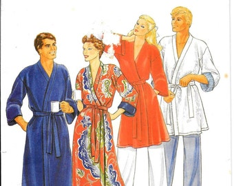 Wrap Front Robe Pattern Mens Womens Unisex Hot Tub Bathrobe Belt Tie Pockets Butterick 4137 Size Small