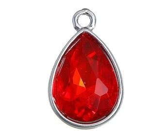 10 Ruby SIAM RED Rhinestone Teardrop Drop Charms, Crystal Glass in Silver Tone Bezel, July Birthstone, 19x12mm, chs2795