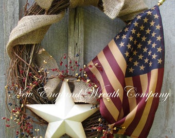 Americana Wreath, Patriotic Wreath, 4th of July Wreath, Memorial Day Wreath, Primitive Patriotic Wreath, Tea Stained Flag Wreath