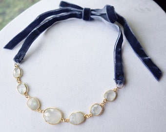 Moonstone and Velvet Convertible Necklace and Headpiece