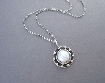 One of a Kind Pearl Necklace, Pearl Charm Necklace, Silver and Pearl Necklace
