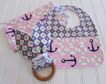 Newborn Gift Set/Infant Bib, Burp Cloth & Teether/True Blue/Organic Fleece Back