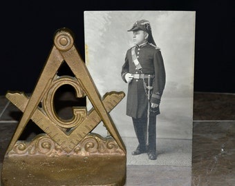 "Knights Templar Freemason in Full Uniform - Antique 4"" x 6"" Photograph - Original 1930's / 1940's - Young Man with Full Regalia"