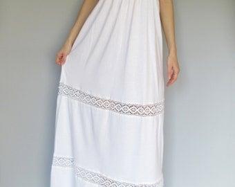 sixties sunrise-organic cotton bamboo white bohemian hippie festival wedding crochet lace strapless tube maxi dress small