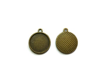 Antique Bronze Bezel - 16mm Tray - Grid Back Cabochon Setting - Blank - Fits 16mm Cabochons - 100 50 20 10 or 5 - pendant tray