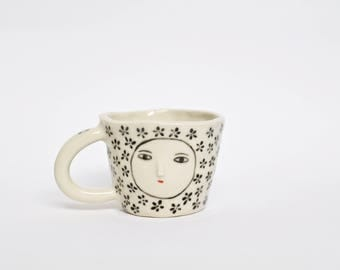 Wonky double espresso coffee cup - flower pattern