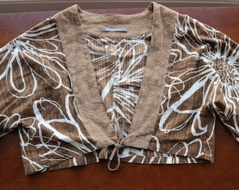Jacques Ruc brown white abstract floral cotton beaded shrug one size fits all
