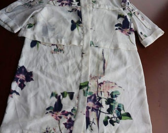 French Connection cream floral 80s bshort sleeved blouse tunic uk 8, Fr 36, US 4