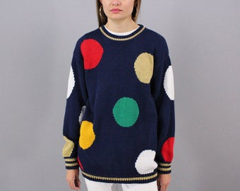 Oversized Polka Dot Sweater / Vintage 80s Sweater / Slouchy Sweater / Boyfriend Sweater Δ fits sizes: XS/S/M