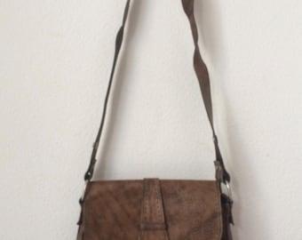 Vintage brown leather sixties shoulderbag or handbag