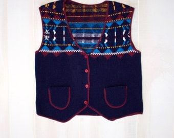 Vintage 80s Sweater Vest, 1980s Nordic Sweater, Argyle, Geometric