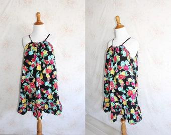 Vintage 90s Sundress, 1990s Floral Mini Dress, Flower Print, Spaghetti Strap, Prairie, Ruffle, Ralph Lauren