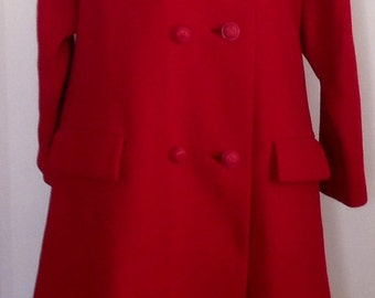 1960's Red wool double breasted winter coat