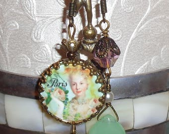 Vintage style Marie Antoinette Paris image bead charm cabochon asymmetrical earrings