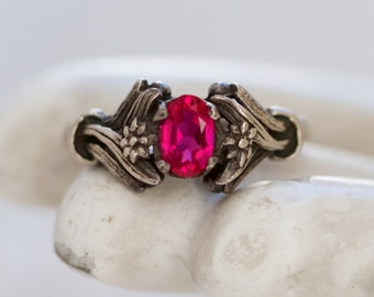 Art Nouveau Ring - Dark Sterling Silver With Fushcia Stone - Size 6.5